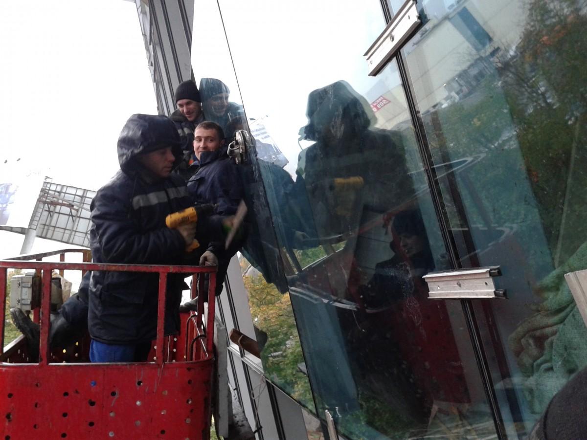 Промышленные альпинисты на москва сити